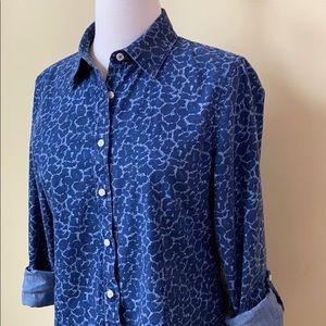 Talbots Tops - Talbots Chambray Animal Print Button Down Shirt